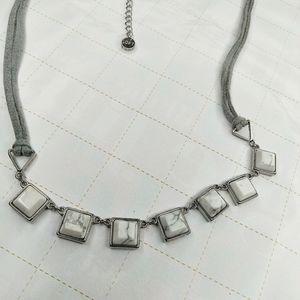 LOFT Howlite Natural Gemstone Suede Necklace